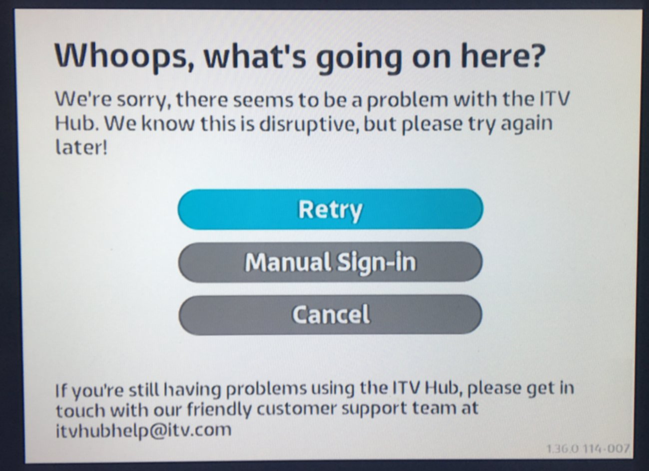 MAYBE SOLVED - ITV Hub log in problem on Humax FVP 5000T