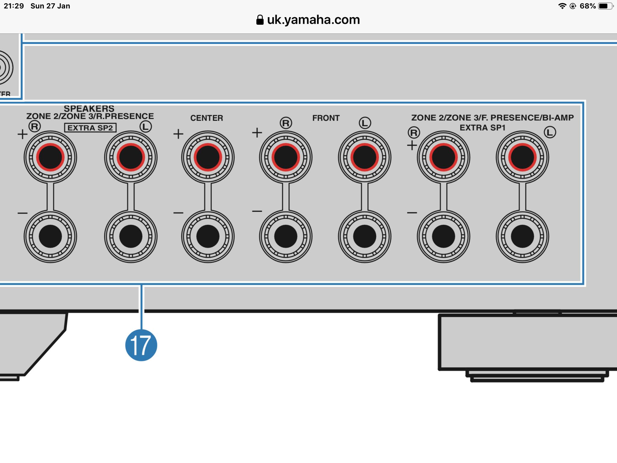 Help connecting 5 1 4 on Yamaha RXA-2070   AVForums