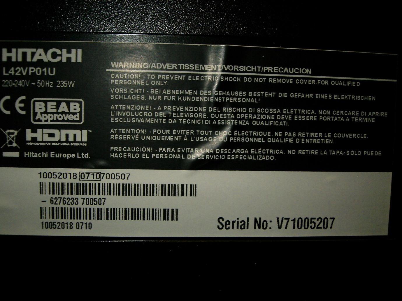 How To Tell If Your Tvs A Vestel Avforums 2005 Lg 50 Inch Plasma Tv Screen Circuit Boards In Back Of Hitachi