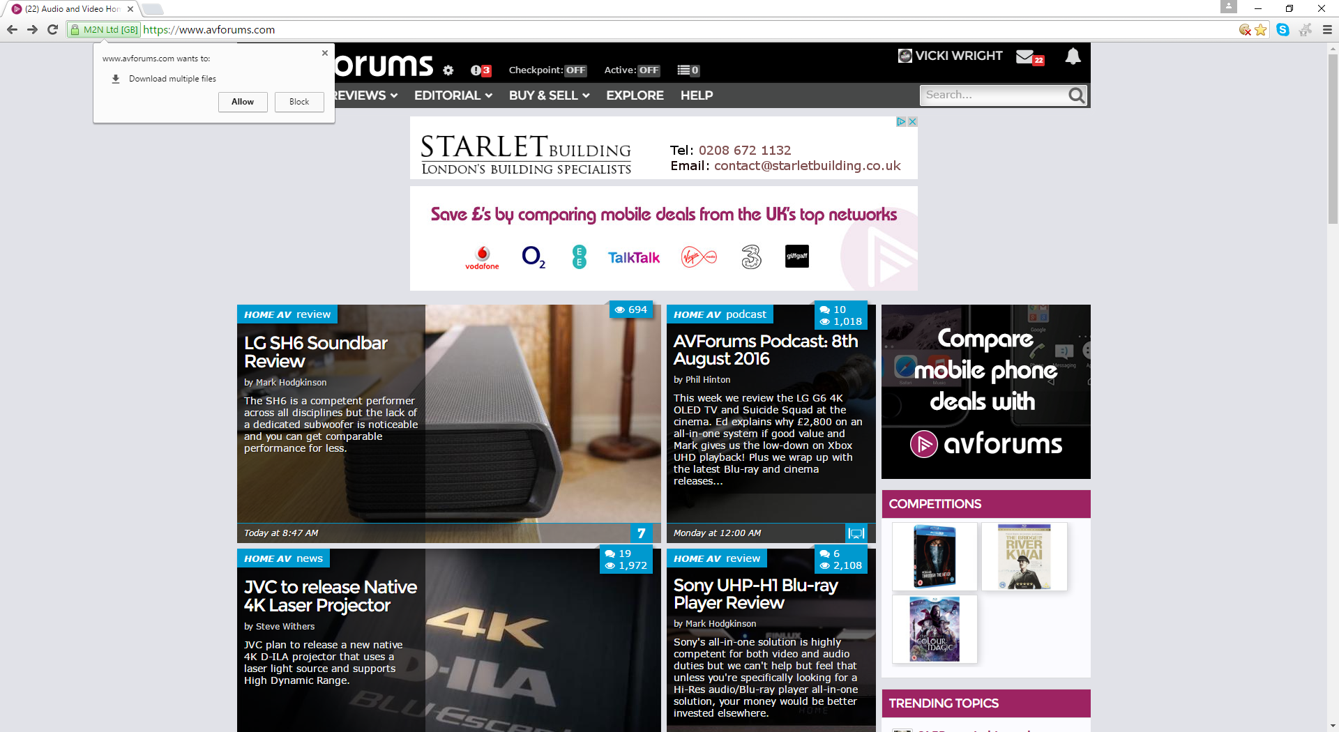 Starlet Building google advert prompts to download