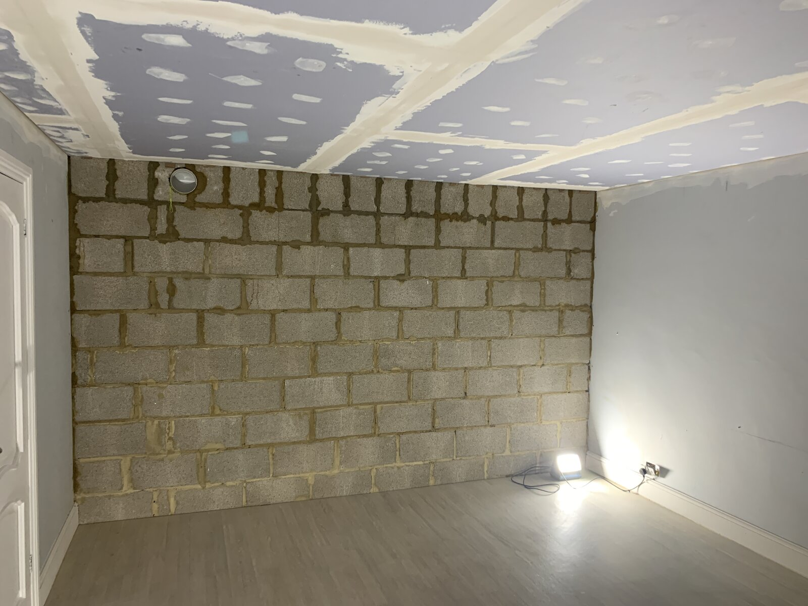 Finished wall and ceiling
