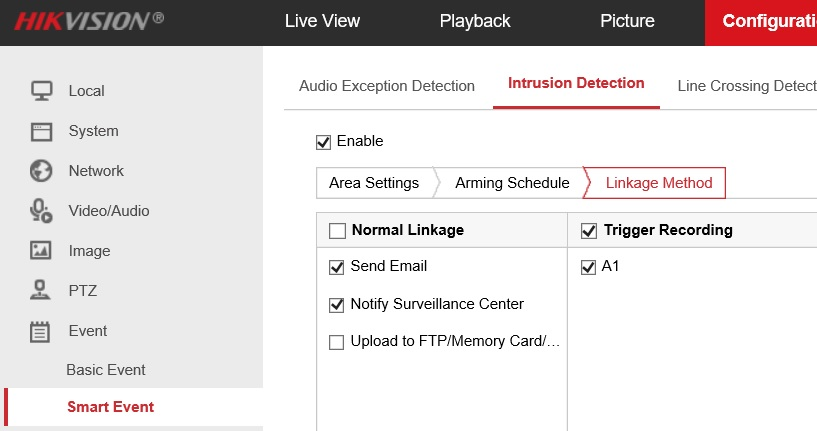 Hikvision cctv IP camera and NVR VCA settings | AVForums
