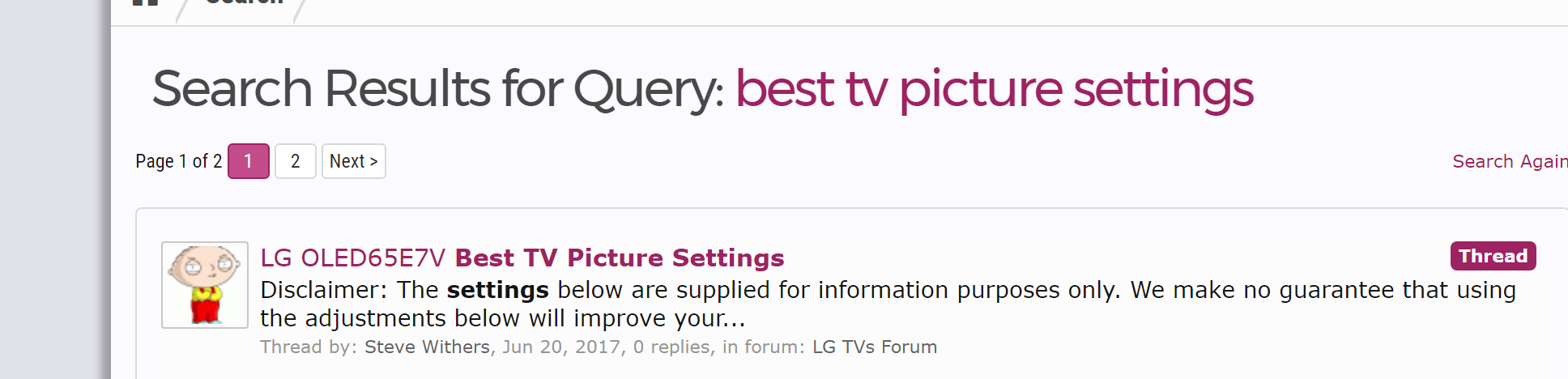 Picture Settings for LG Oled E7 | AVForums