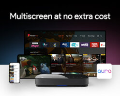 Multiscreen at no extra cost - Download the Aura app to a compatible smart device and stream live TV around the house or download your recordings to take with you on the go.