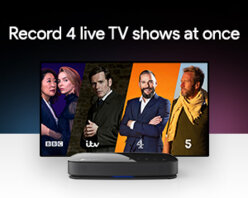 Take advantage of three tuners by recording up to 4 shows at the same time, whilst watching a 5th.