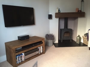 Qube Double TV Stand in 'Rustic Warm'