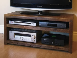 Qube Double TV Stand in 'Rustic Classic'
