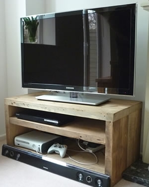 Qube Double TV Stand in 'Rustic Natural'