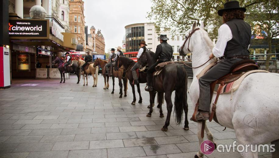The Magnificent Seven horse around in London