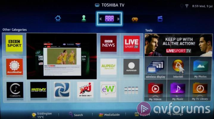 Toshiba Smart TV System 2014 VoD and Other Apps