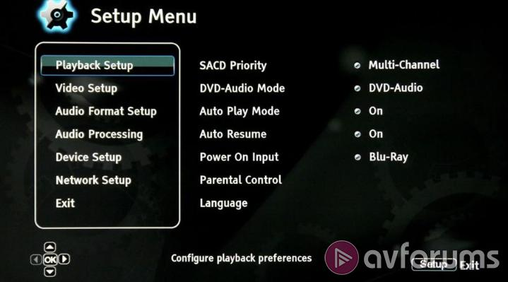 Oppo BDP-105D Menus and Setup
