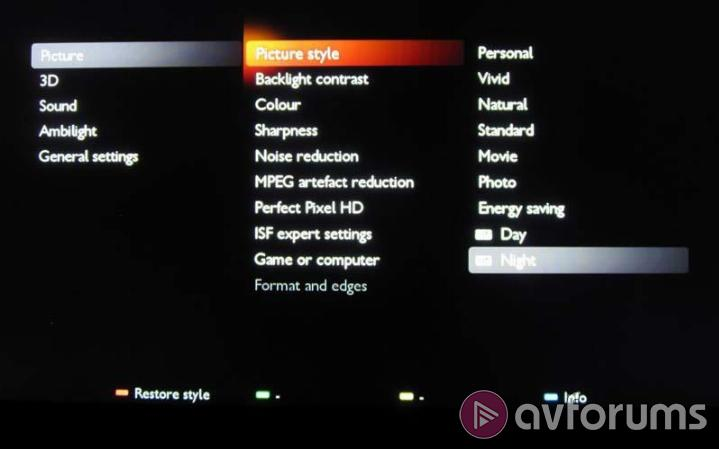 Philips 46PFL9707 Menus