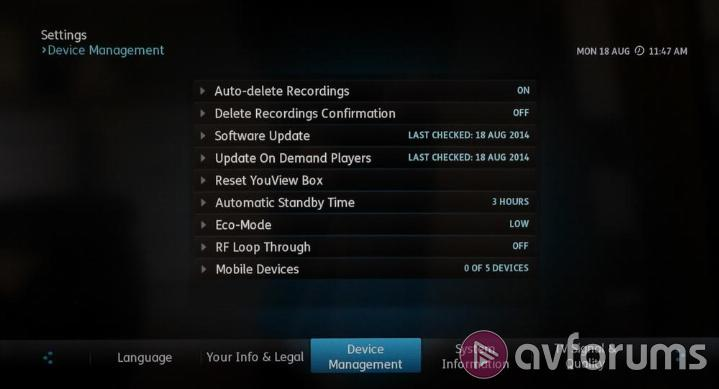 Humax YouView DTR-T2000 DTR-T2000 Menus