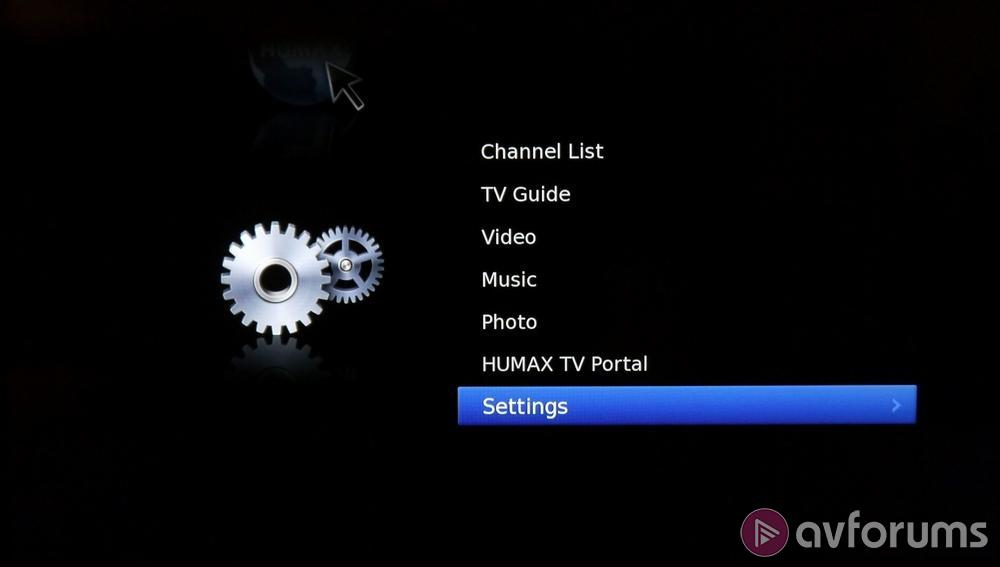 how to find setting option on humax pvr