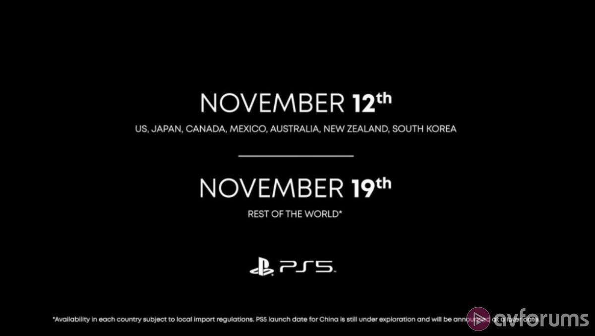PS5 launches 19th Nov in UK for £450
