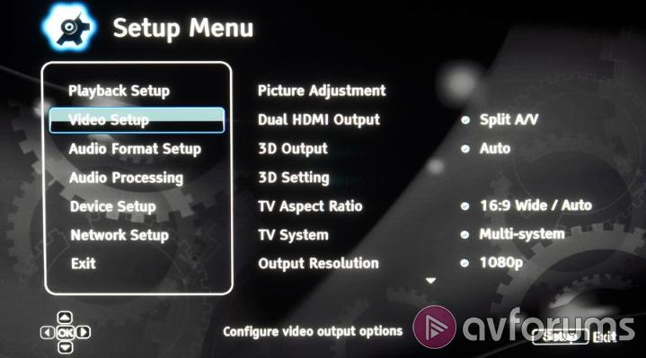 Oppo BDP-103D Menus and Setup