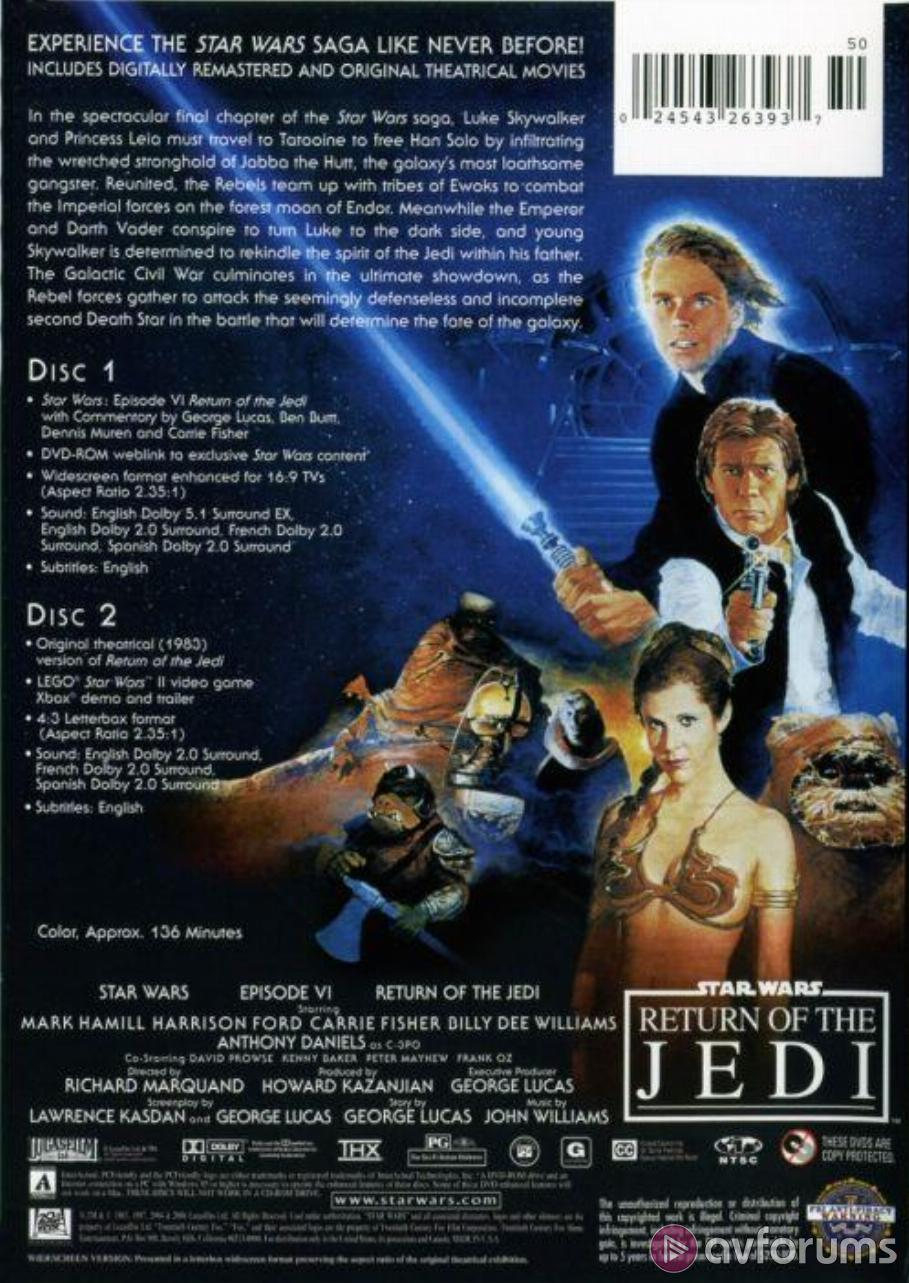 Star Wars: Episode VI - Return Of The Jedi : Limited Edition DVD Review