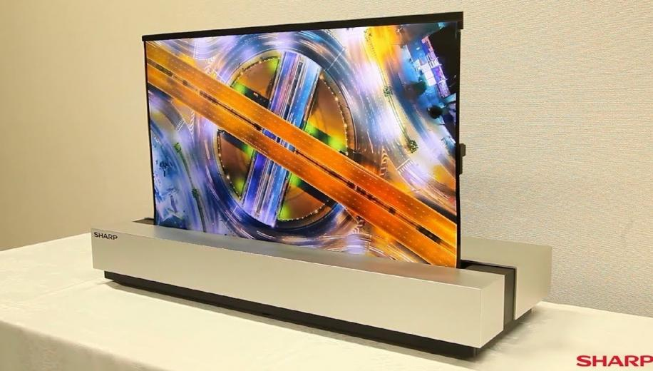 Sharp unveils 30-inch rollable OLED TV